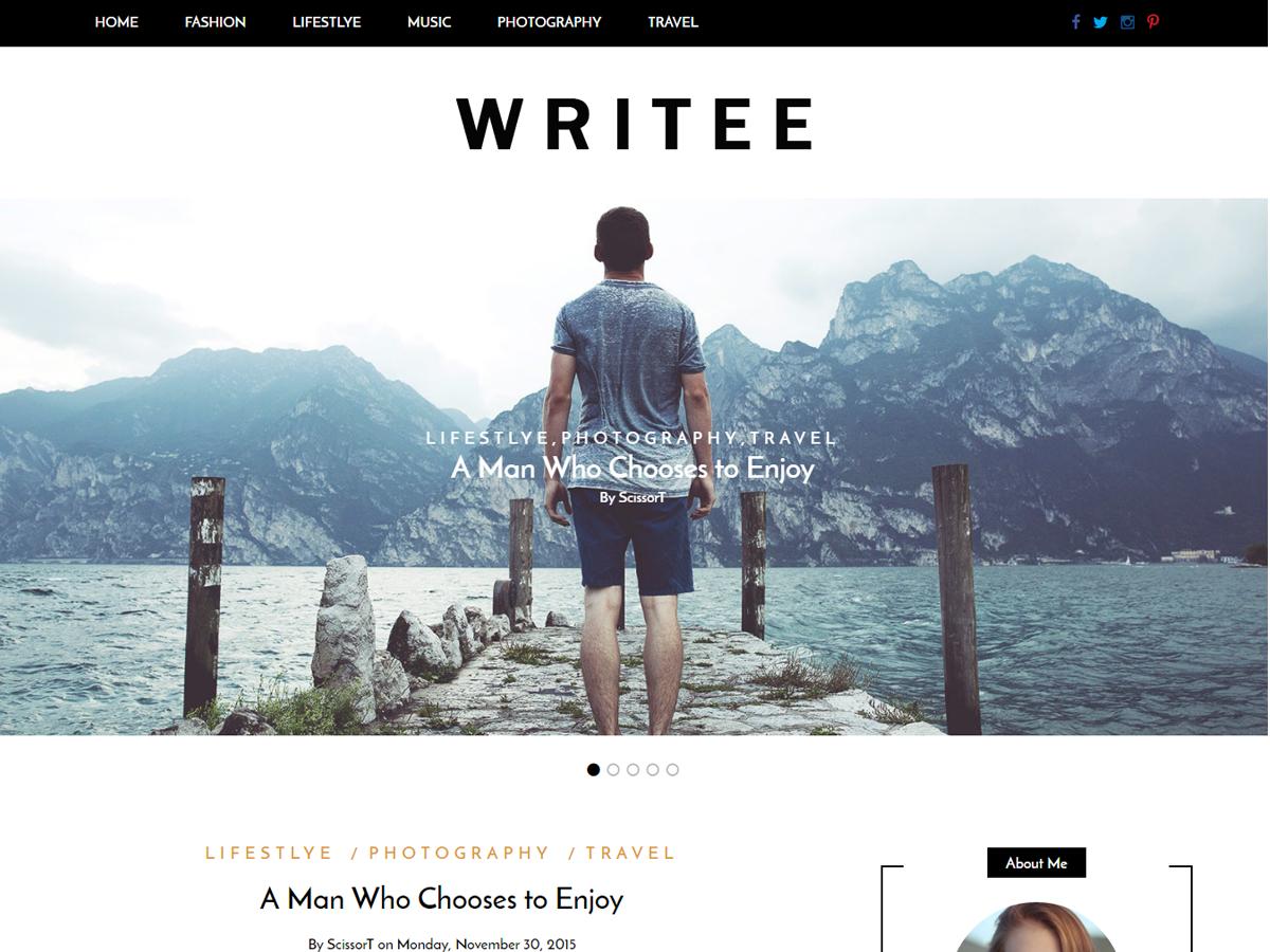 Writee Free WordPress Blog theme 2017